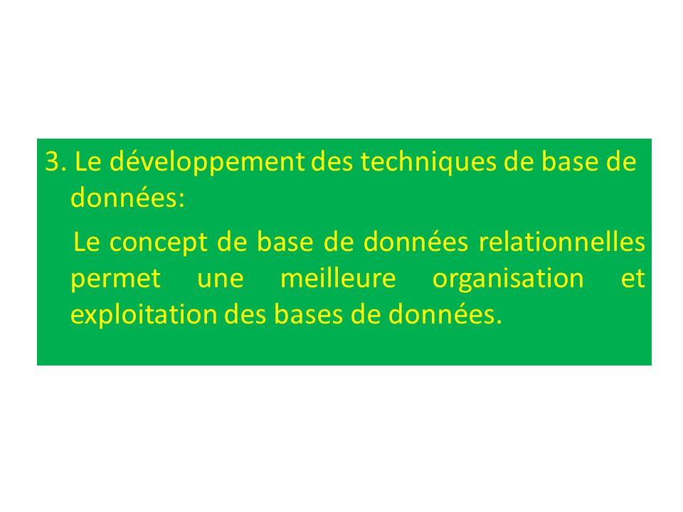 3. Le développement des techniques de base de données: Le concept de base de données relationnelles permet une meilleure organisation et exploitation