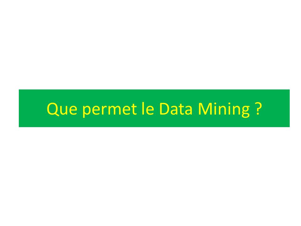 Que permet le Data Mining ?