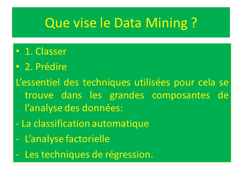 Que vise le Data Mining ? 1. Classer 2. Prédire Lessentiel des techniques utilisées pour cela se trouve dans les grandes composantes de lanalyse des d