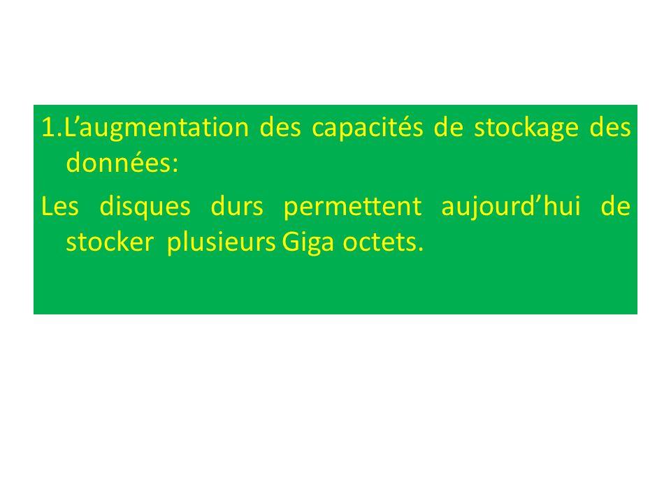 1.Laugmentation des capacités de stockage des données: Les disques durs permettent aujourdhui de stocker plusieurs Giga octets.
