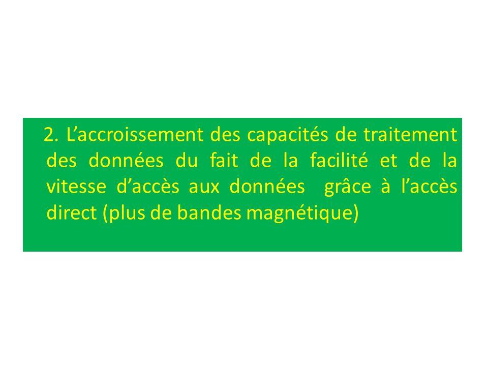 2. Laccroissement des capacités de traitement des données du fait de la facilité et de la vitesse daccès aux données grâce à laccès direct (plus de ba