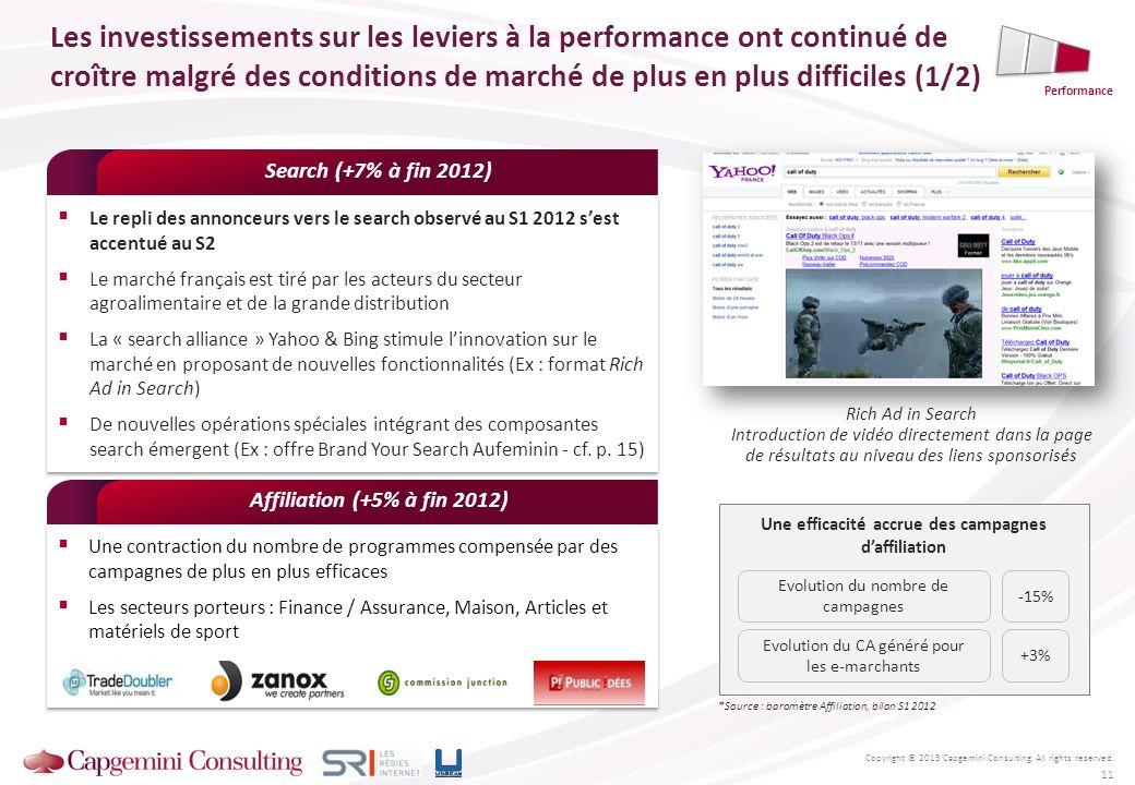 Le repli des annonceurs vers le search observé au S1 2012 sest accentué au S2 Le marché français est tiré par les acteurs du secteur agroalimentaire e