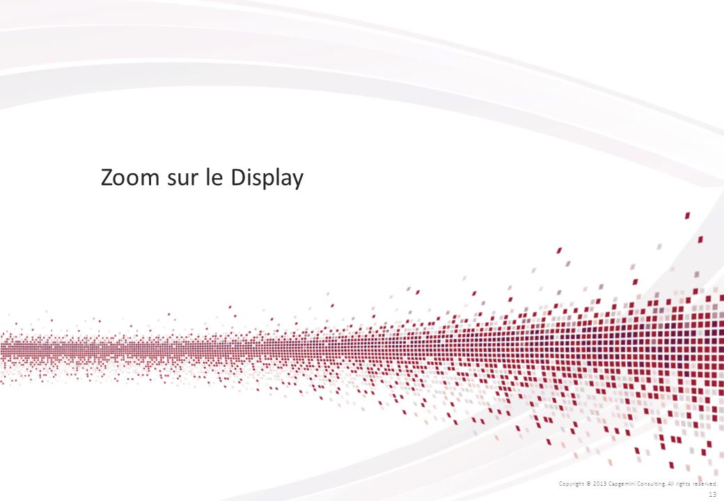 Zoom sur le Display Copyright © 2013 Capgemini Consulting. All rights reserved. 13