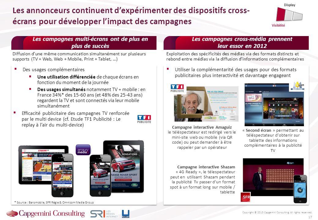Copyright © 2013 Capgemini Consulting. All rights reserved. 17 Les campagnes multi-écrans ont de plus en plus de succès Des usages complémentaires Une