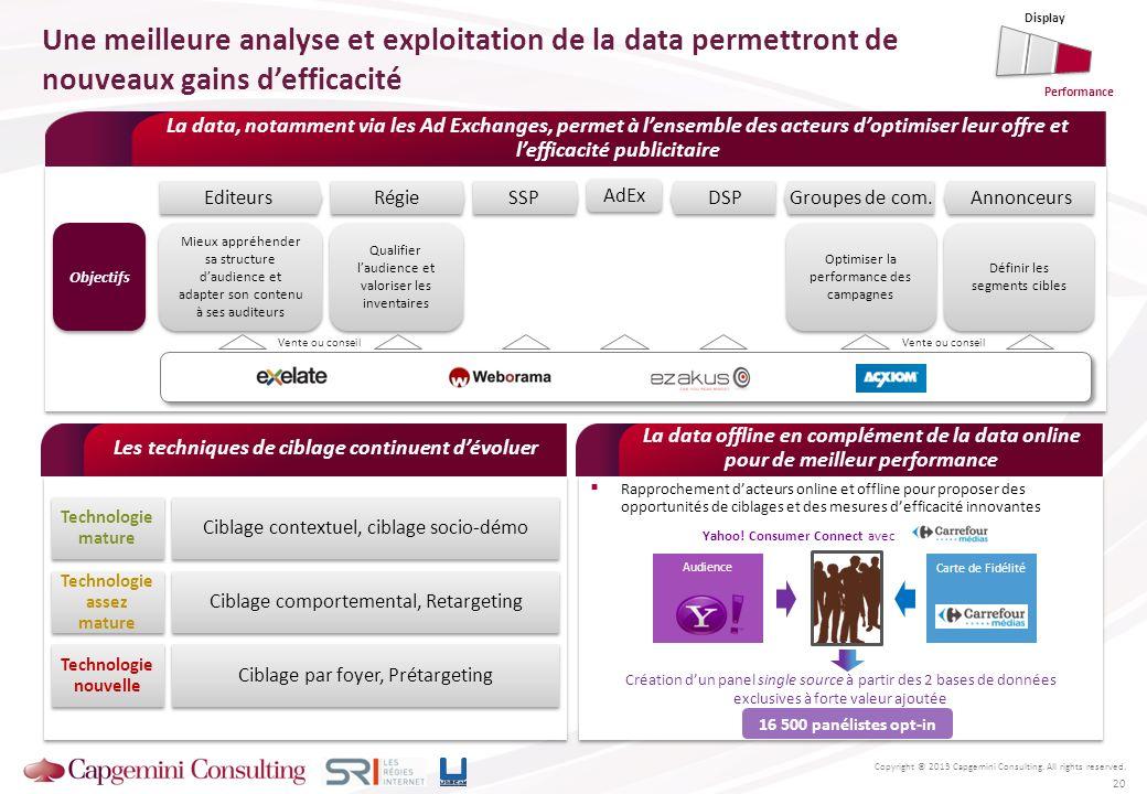 Copyright © 2013 Capgemini Consulting. All rights reserved. Une meilleure analyse et exploitation de la data permettront de nouveaux gains defficacité