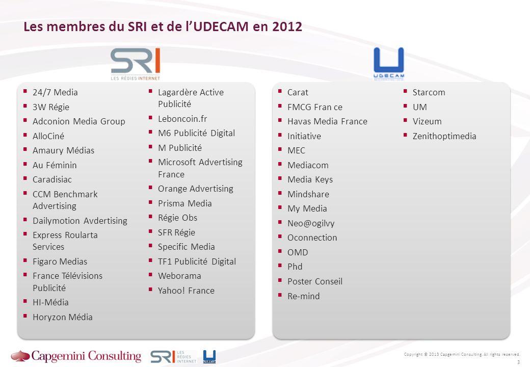 Les membres du SRI et de lUDECAM en 2012 Copyright © 2013 Capgemini Consulting. All rights reserved. 24/7 Media 3W Régie Adconion Media Group AlloCiné