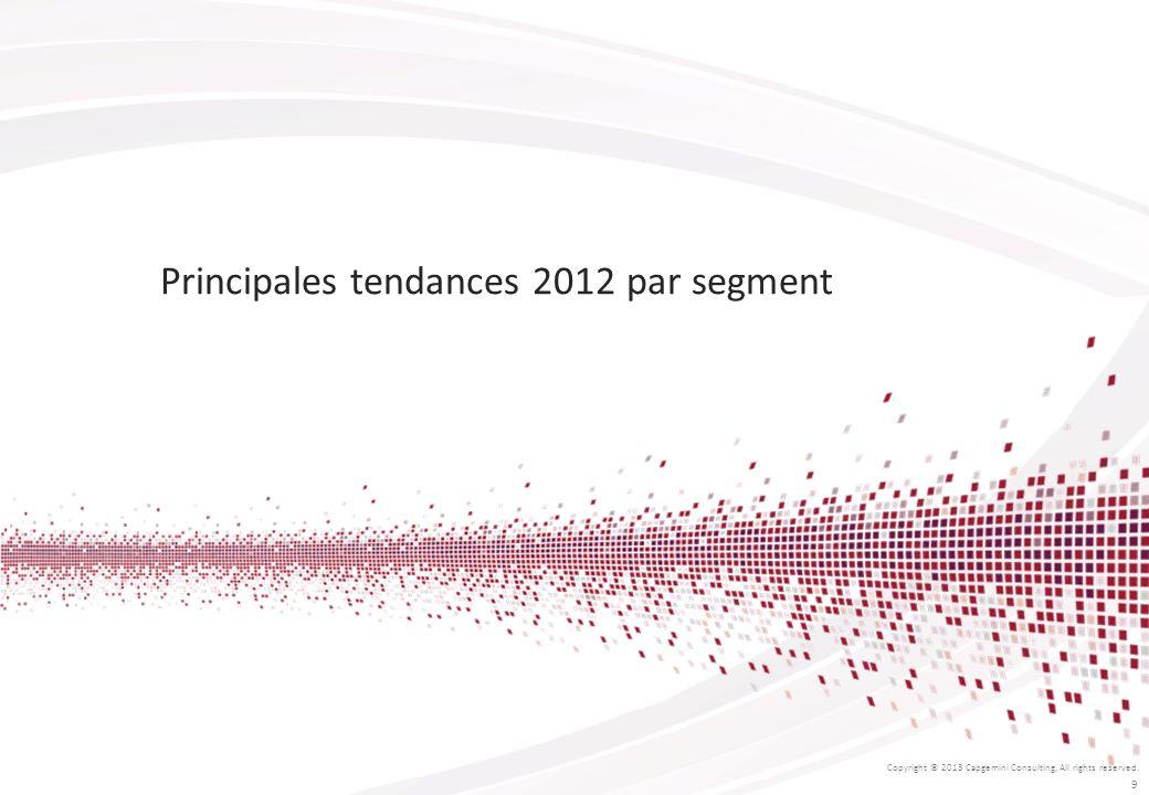 Principales tendances 2012 par segment Copyright © 2013 Capgemini Consulting. All rights reserved. 9