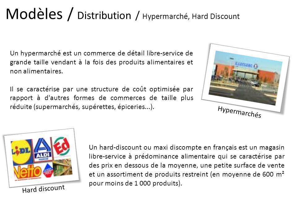 Modèles / Distribution / Hypermarché, Hard Discount Hypermarchés Un hypermarché est un commerce de détail libre-service de grande taille vendant à la