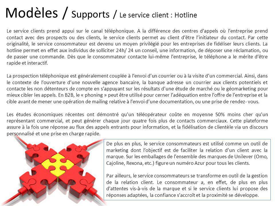 Modèles / Supports / Le service client : Hotline Le service clients prend appui sur le canal téléphonique. A la différence des centres dappels où lent