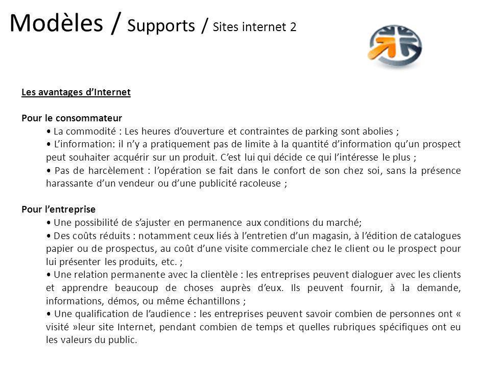 Modèles / Supports / Sites internet 2 Les avantages dInternet Pour le consommateur La commodité : Les heures douverture et contraintes de parking sont
