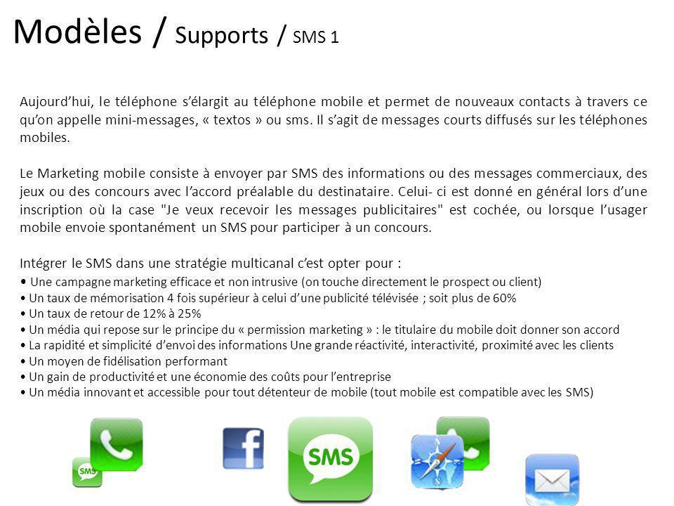 Modèles / Supports / SMS 1 Aujourdhui, le téléphone sélargit au téléphone mobile et permet de nouveaux contacts à travers ce quon appelle mini-message
