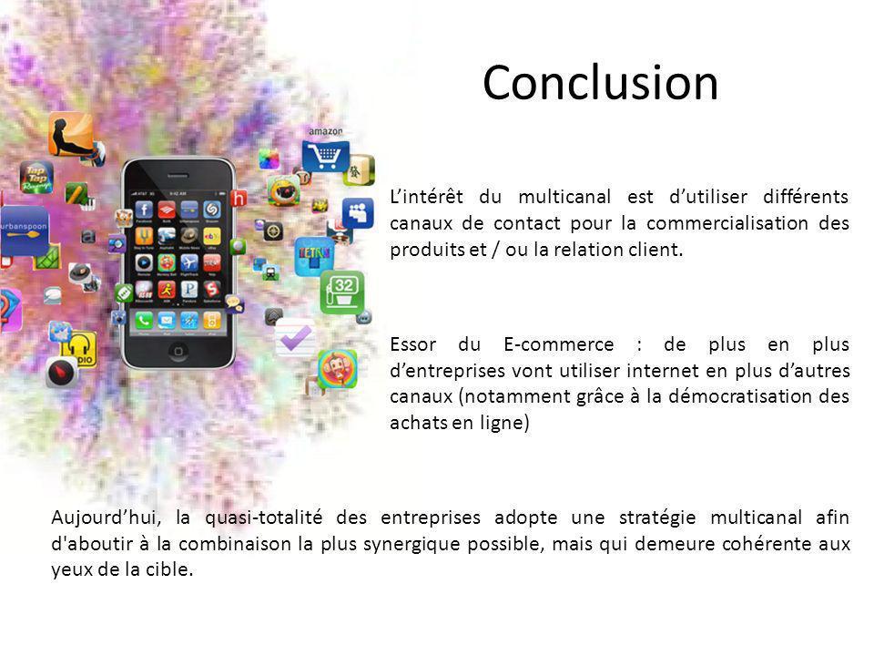 Conclusion Lintérêt du multicanal est dutiliser différents canaux de contact pour la commercialisation des produits et / ou la relation client. Essor