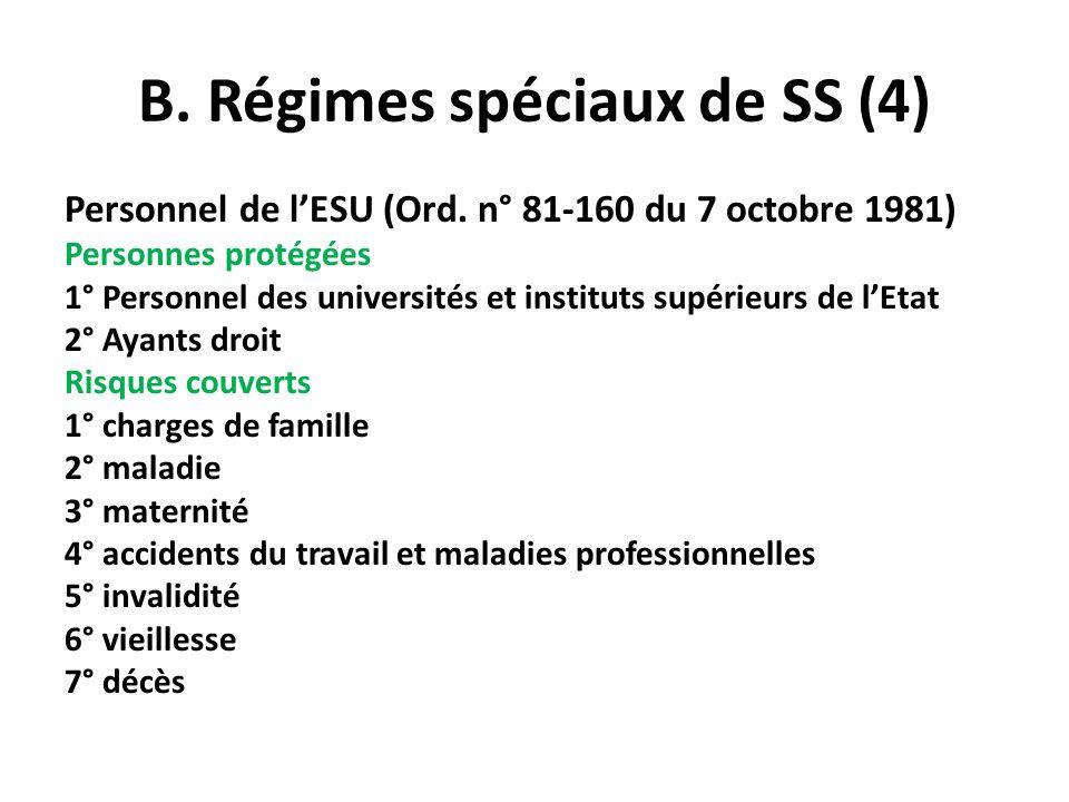 B. Régimes spéciaux de SS (4) Personnel de lESU (Ord. n° 81-160 du 7 octobre 1981) Personnes protégées 1° Personnel des universités et instituts supér