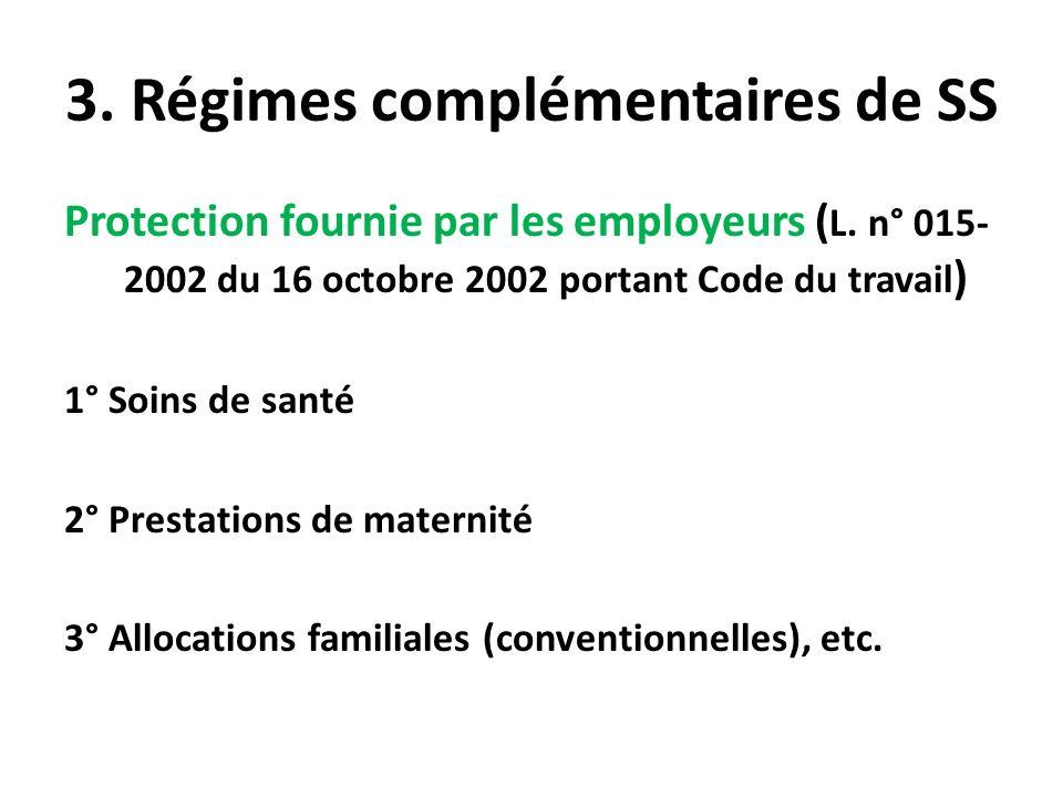3. Régimes complémentaires de SS Protection fournie par les employeurs ( L. n° 015- 2002 du 16 octobre 2002 portant Code du travail ) 1° Soins de sant
