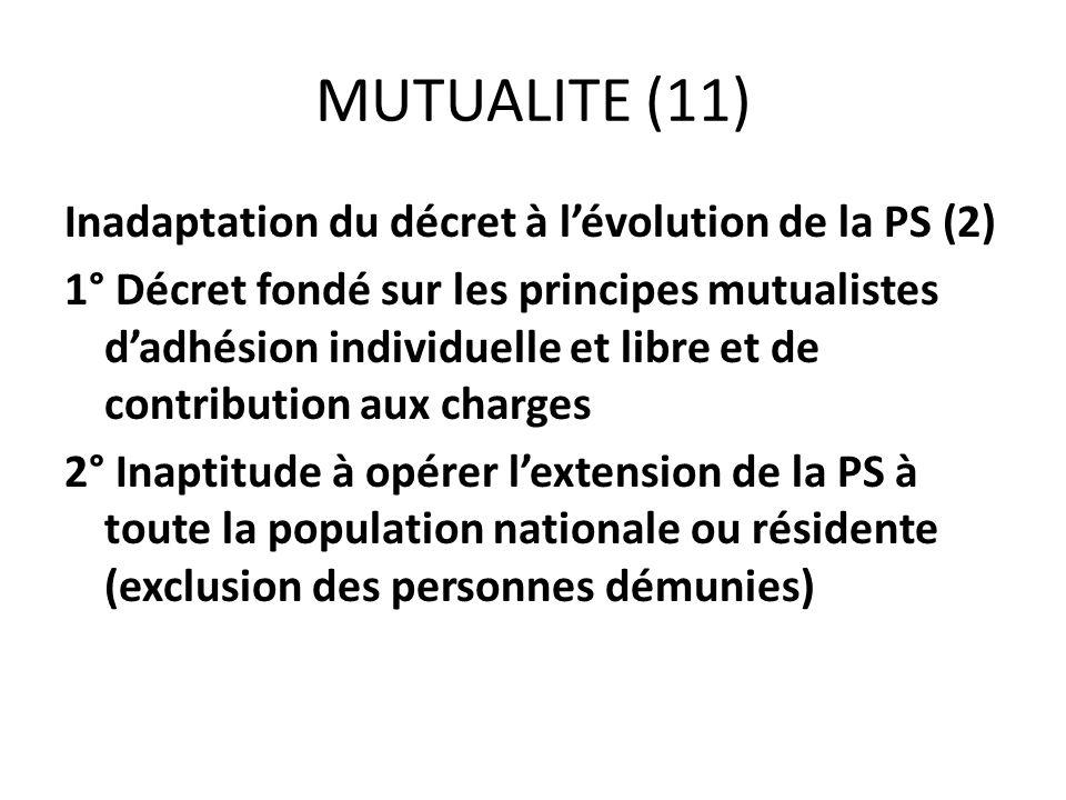 MUTUALITE (11) Inadaptation du décret à lévolution de la PS (2) 1° Décret fondé sur les principes mutualistes dadhésion individuelle et libre et de co