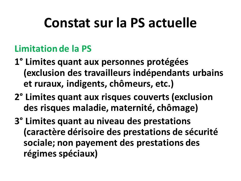 Constat sur la PS actuelle Limitation de la PS 1° Limites quant aux personnes protégées (exclusion des travailleurs indépendants urbains et ruraux, in