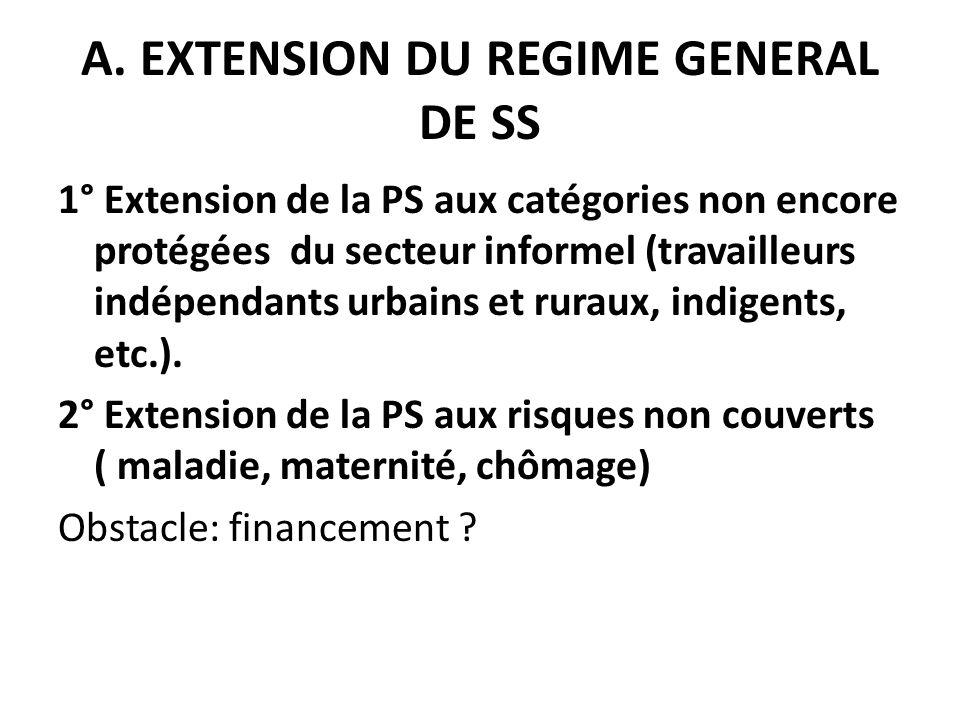 A. EXTENSION DU REGIME GENERAL DE SS 1° Extension de la PS aux catégories non encore protégées du secteur informel (travailleurs indépendants urbains