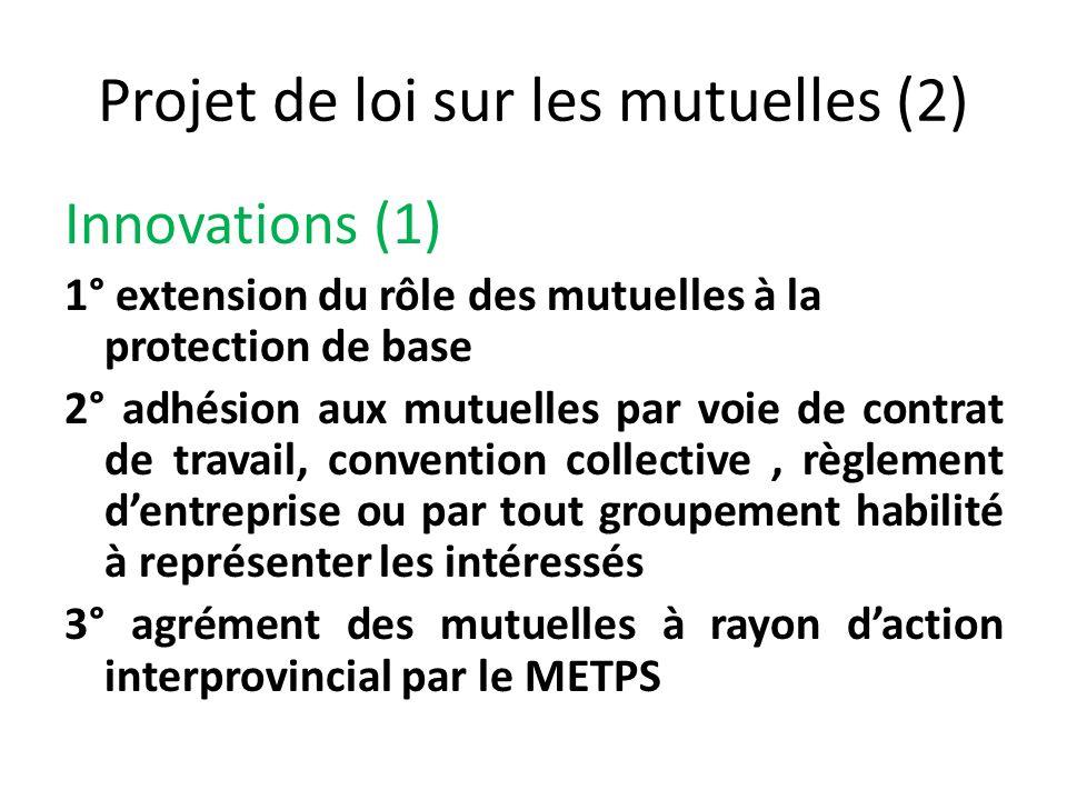 Projet de loi sur les mutuelles (2) Innovations (1) 1° extension du rôle des mutuelles à la protection de base 2° adhésion aux mutuelles par voie de c