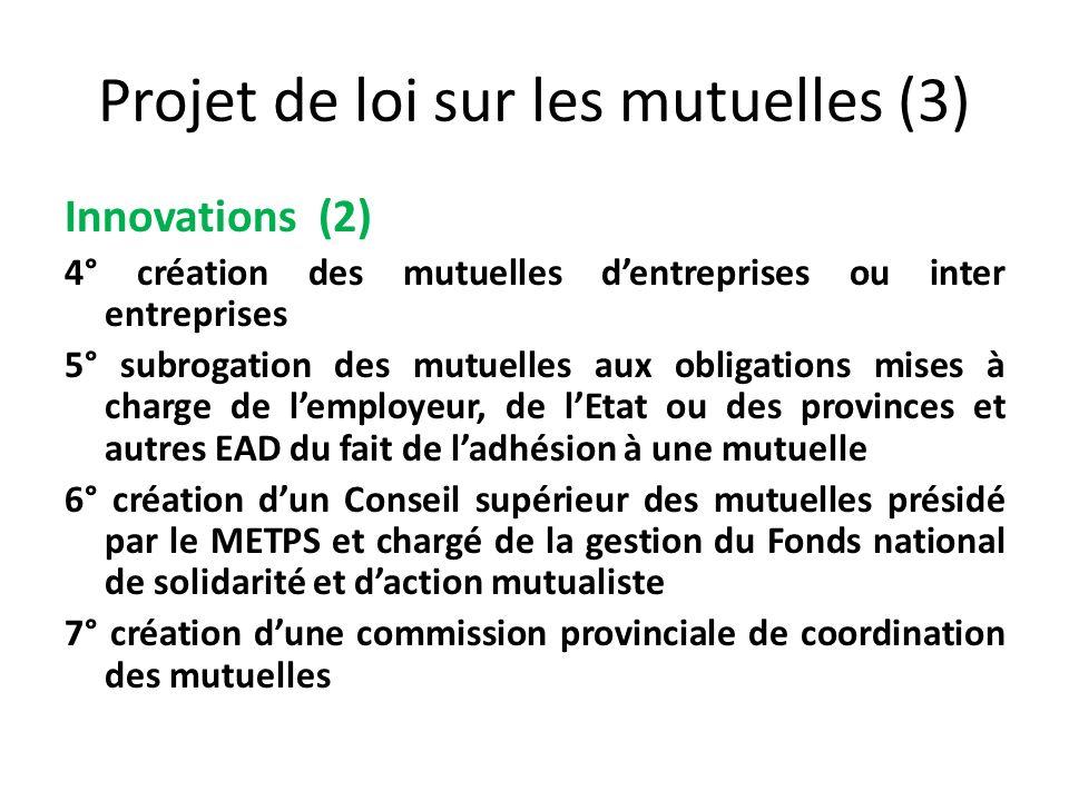 Projet de loi sur les mutuelles (3) Innovations (2) 4° création des mutuelles dentreprises ou inter entreprises 5° subrogation des mutuelles aux oblig