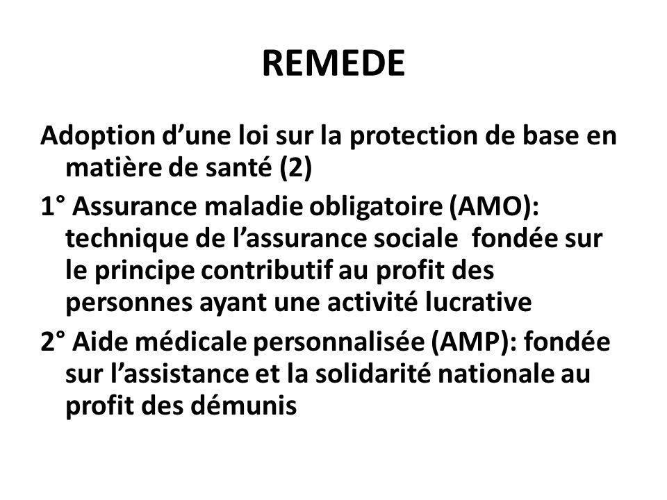 REMEDE Adoption dune loi sur la protection de base en matière de santé (2) 1° Assurance maladie obligatoire (AMO): technique de lassurance sociale fon