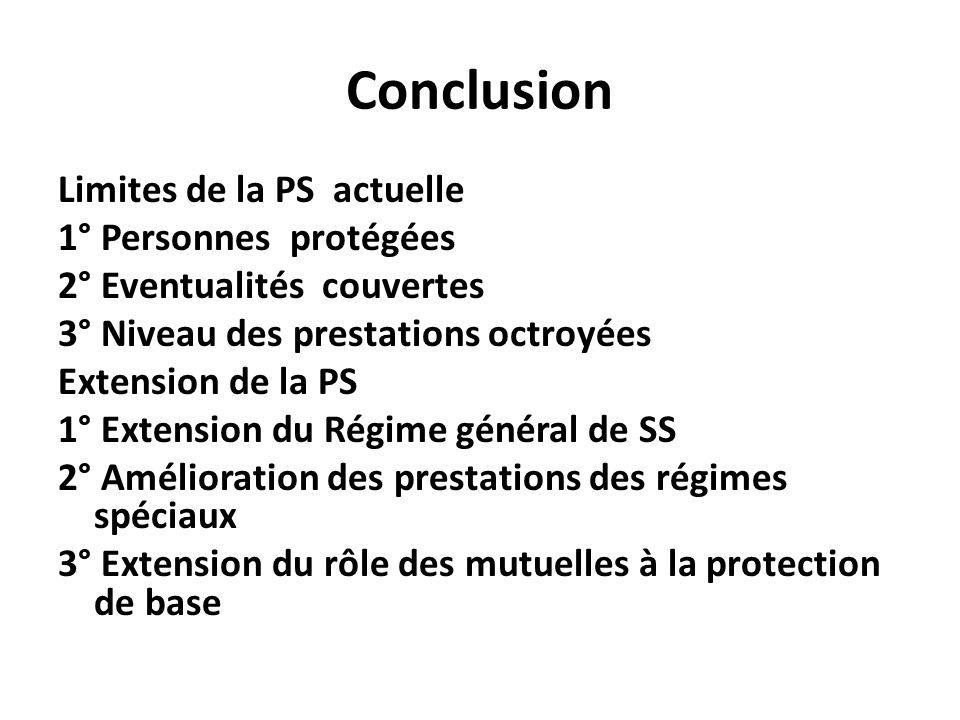 Conclusion Limites de la PS actuelle 1° Personnes protégées 2° Eventualités couvertes 3° Niveau des prestations octroyées Extension de la PS 1° Extens
