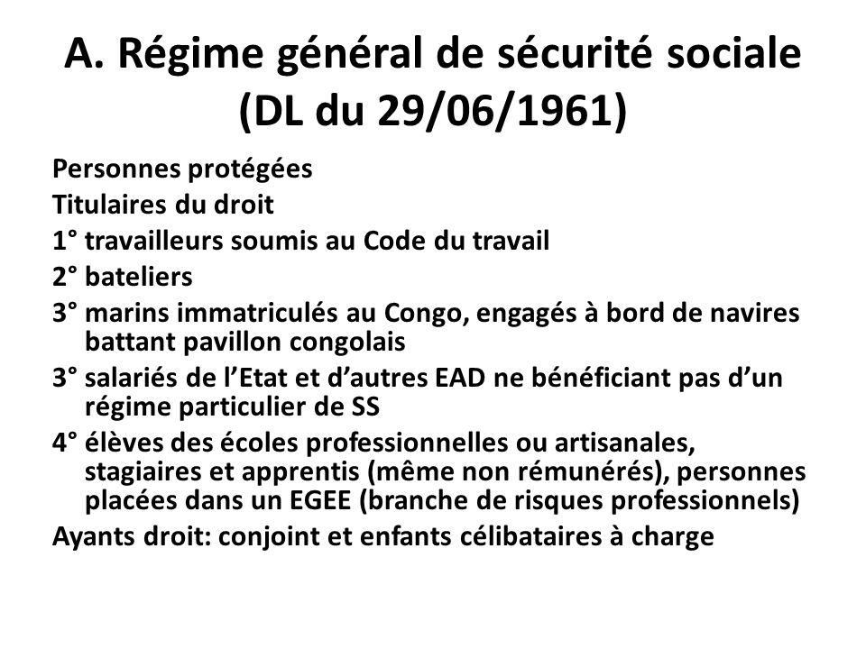 A. Régime général de sécurité sociale (DL du 29/06/1961) Personnes protégées Titulaires du droit 1° travailleurs soumis au Code du travail 2° batelier