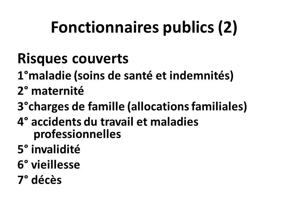 Fonctionnaires publics (2) Risques couverts 1°maladie (soins de santé et indemnités) 2° maternité 3°charges de famille (allocations familiales) 4° acc