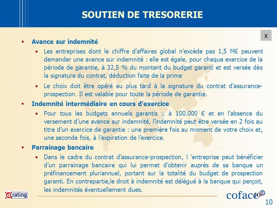 10 x SOUTIEN DE TRESORERIE Avance sur indemnité Les entreprises dont le chiffre daffaires global nexcède pas 1,5 M peuvent demander une avance sur ind