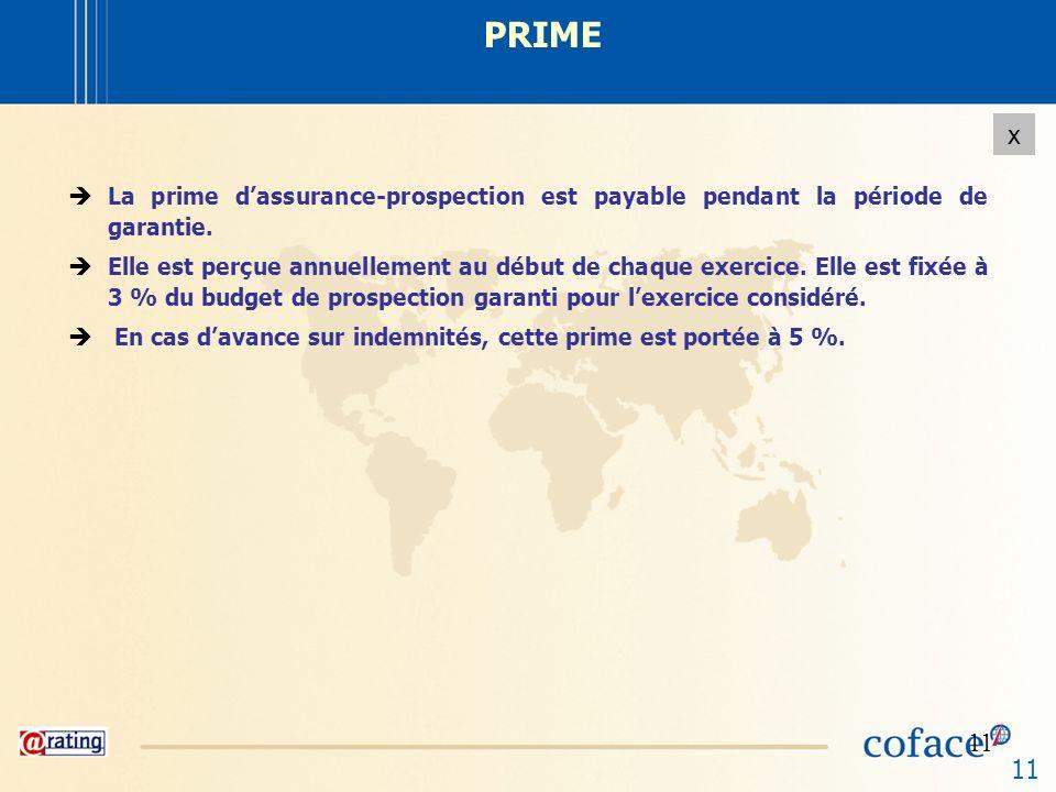 11 x PRIME La prime dassurance-prospection est payable pendant la période de garantie. Elle est perçue annuellement au début de chaque exercice. Elle