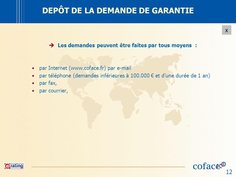 12 x DEPÔT DE LA DEMANDE DE GARANTIE Les demandes peuvent être faites par tous moyens : par Internet (www.coface.fr) par e-mail par téléphone (demande