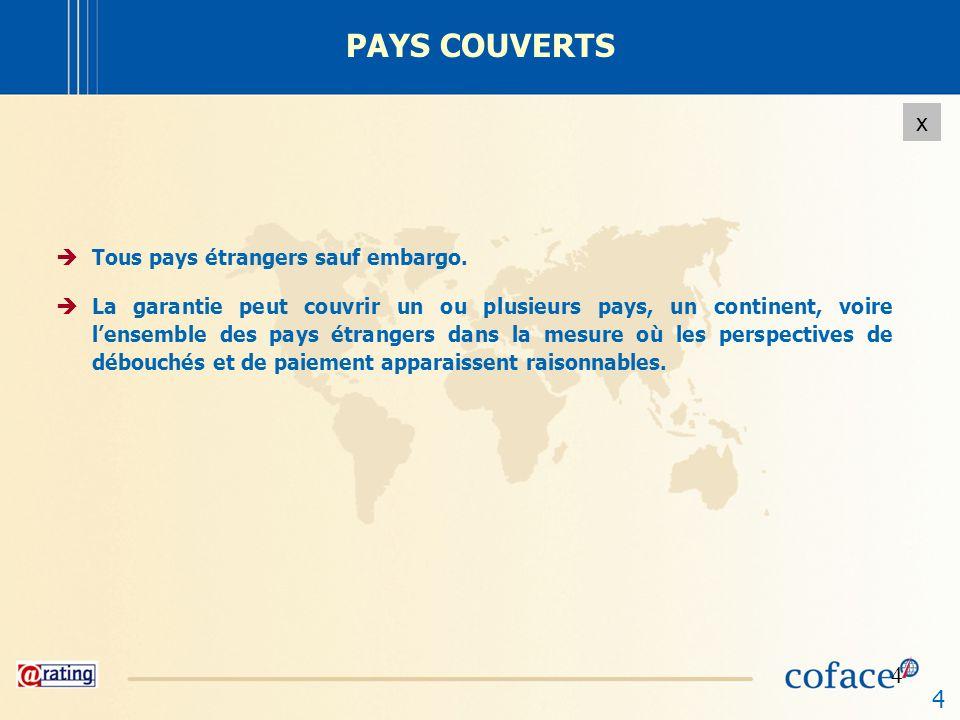 4 x 4 PAYS COUVERTS Tous pays étrangers sauf embargo. La garantie peut couvrir un ou plusieurs pays, un continent, voire lensemble des pays étrangers