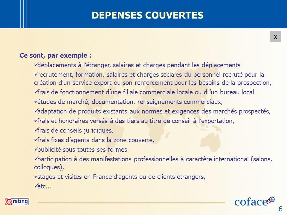 6 x 6 DEPENSES COUVERTES Ce sont, par exemple : déplacements à létranger, salaires et charges pendant les déplacements recrutement, formation, salaire