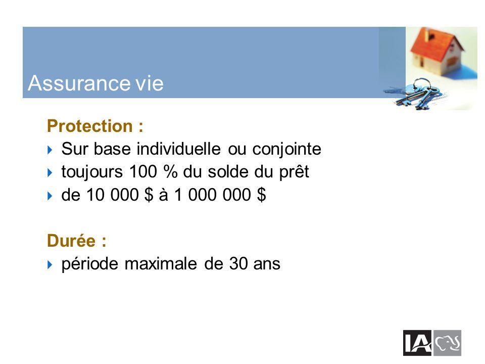 Assurance vie Protection : Sur base individuelle ou conjointe toujours 100 % du solde du prêt de 10 000 $ à 1 000 000 $ Durée : période maximale de 30 ans