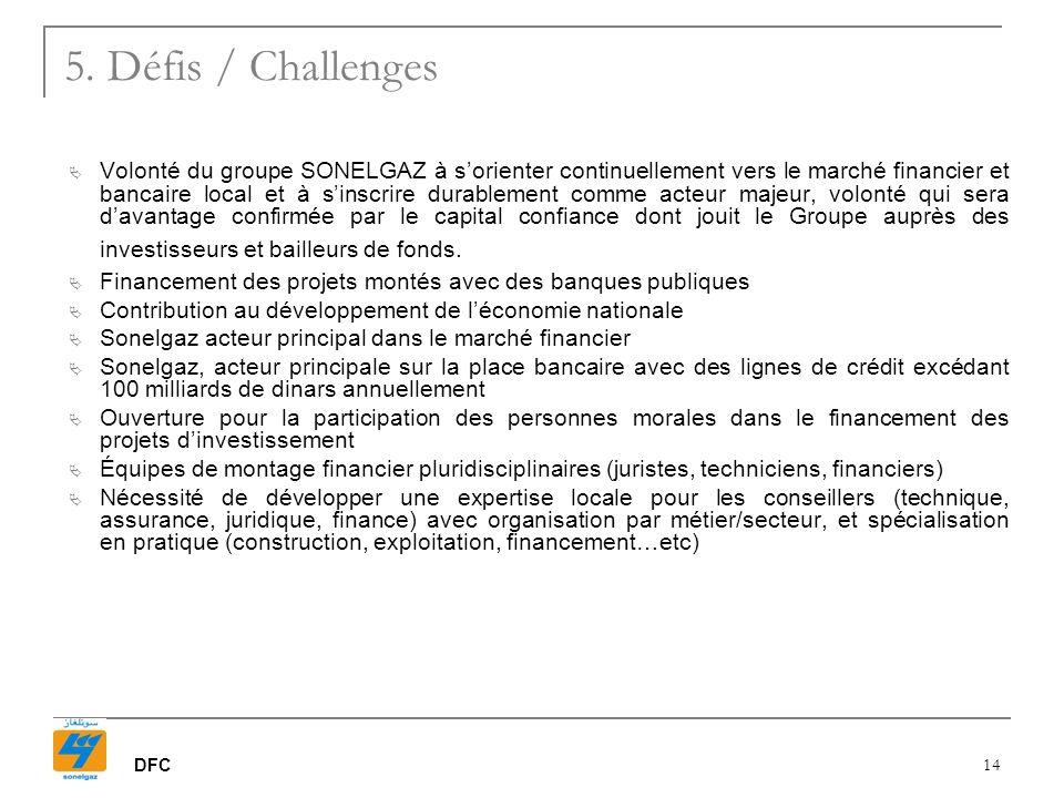 DFC 14 Volonté du groupe SONELGAZ à sorienter continuellement vers le marché financier et bancaire local et à sinscrire durablement comme acteur majeu