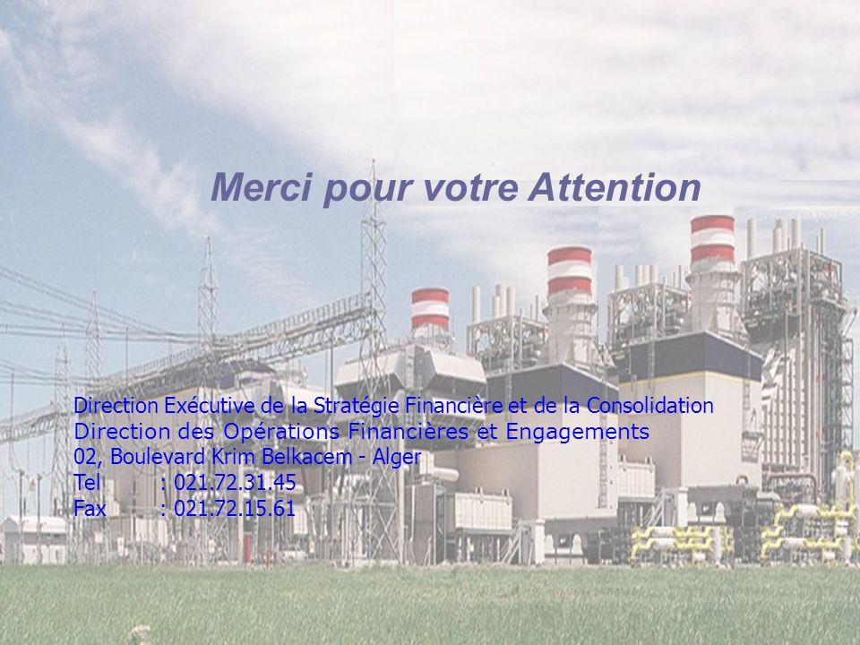 DFC 15 Merci pour votre Attention Direction Exécutive de la Stratégie Financière et de la Consolidation Direction des Opérations Financières et Engage