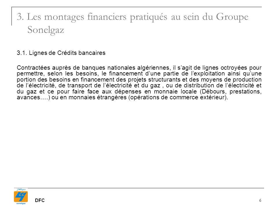 DFC 6 3.1. Lignes de Crédits bancaires Contractées auprès de banques nationales algériennes, il sagit de lignes octroyées pour permettre, selon les be