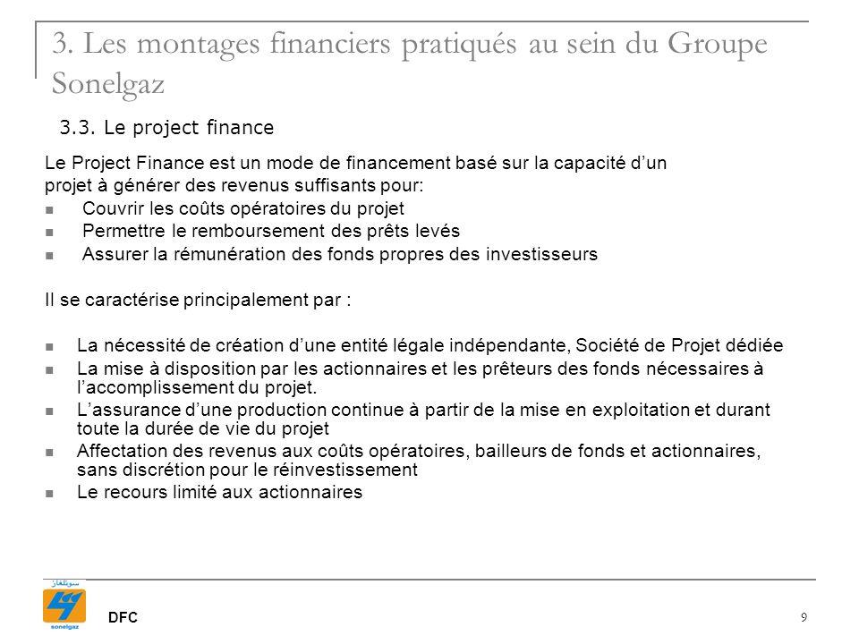 DFC 10 Financement bancaire Actionnaires / Fonds Propres Autre Sonelgaz Banque Chef de file* Pool bancaire Société de projet 30% 70 % ( * ): La Banque Chef de file agit en qualité dAgent des Sûretés, Arrangeur et Teneur de Comptes.