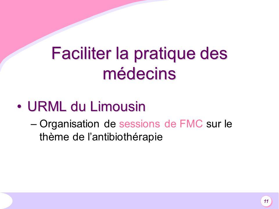 11 Faciliter la pratique des médecins URML du LimousinURML du Limousin –Organisation de sessions de FMC sur le thème de lantibiothérapie