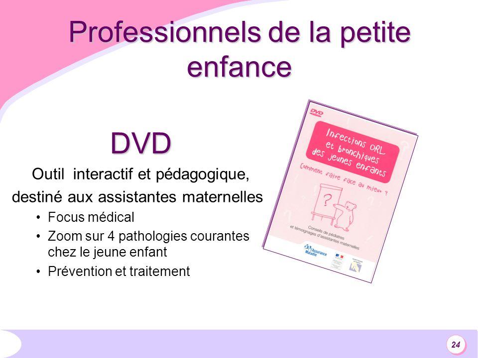 24 Professionnels de la petite enfance DVD Outil interactif et pédagogique, destiné aux assistantes maternelles Focus médical Zoom sur 4 pathologies courantes chez le jeune enfant Prévention et traitement
