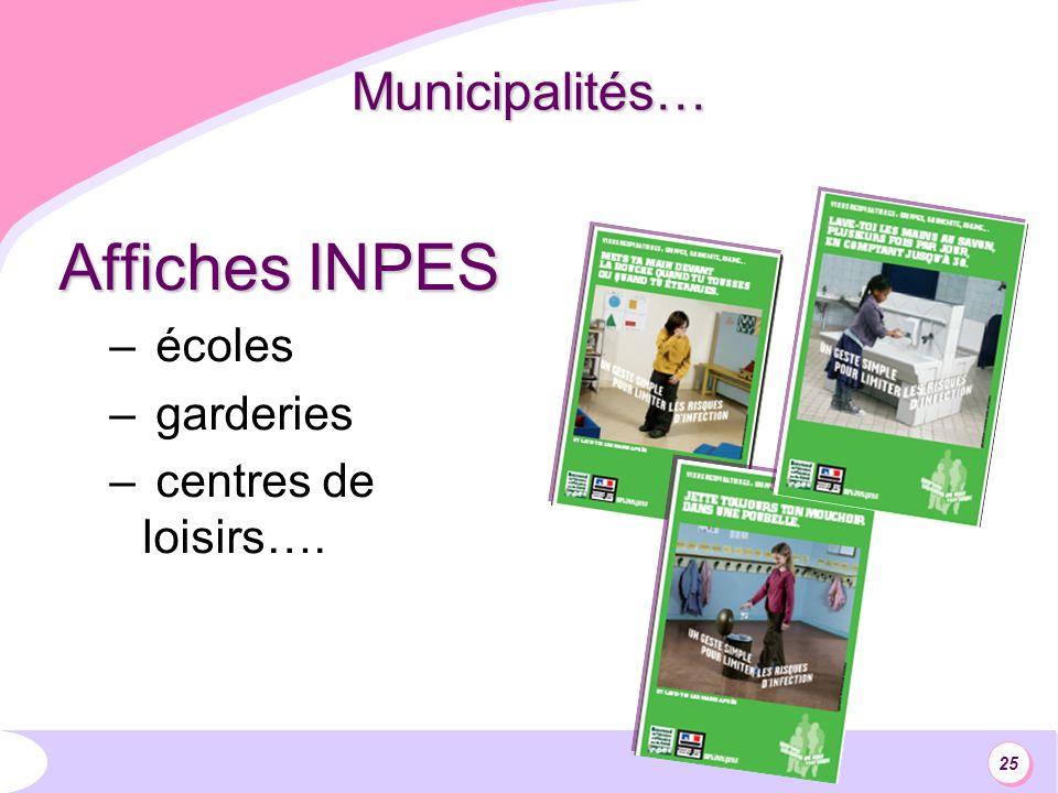 25 Municipalités… Affiches INPES – écoles – garderies – centres de loisirs….