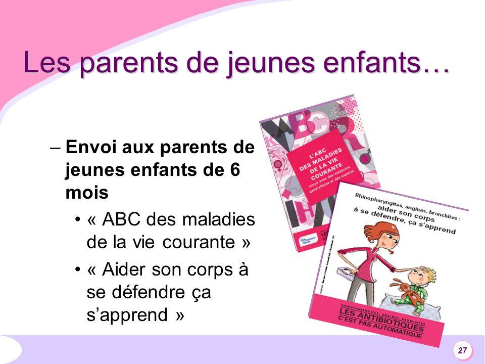 27 Les parents de jeunes enfants… –Envoi aux parents de jeunes enfants de 6 mois « ABC des maladies de la vie courante » « Aider son corps à se défendre ça sapprend »