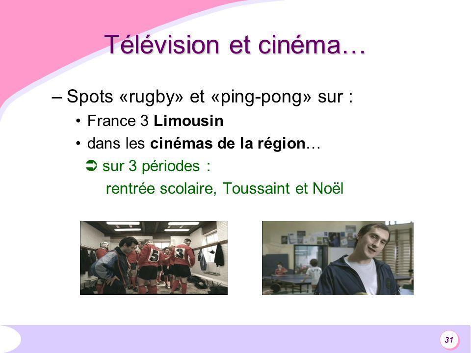 31 Télévision et cinéma… –Spots «rugby» et «ping-pong» sur : France 3 Limousin dans les cinémas de la région… sur 3 périodes : rentrée scolaire, Toussaint et Noël