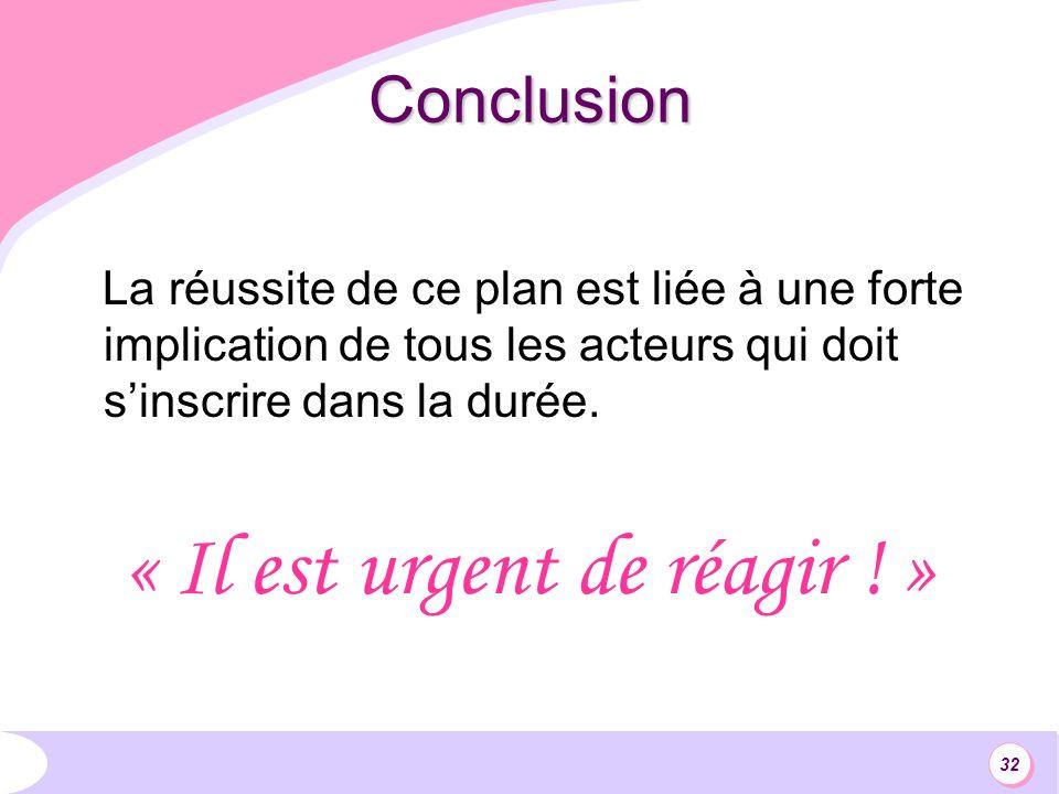 32 Conclusion La réussite de ce plan est liée à une forte implication de tous les acteurs qui doit sinscrire dans la durée.