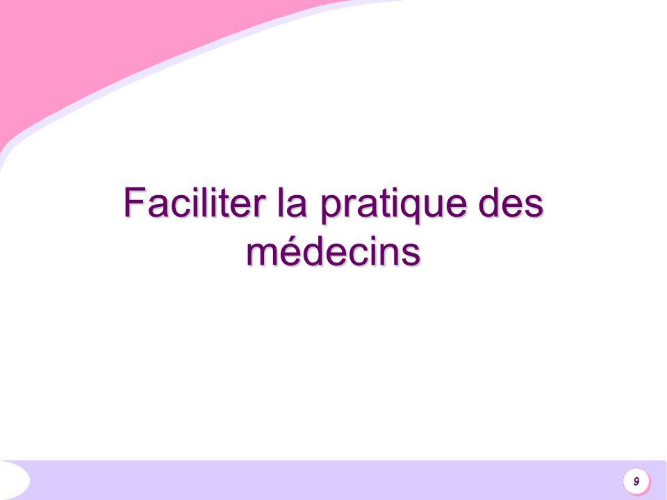 9 Faciliter la pratique des médecins