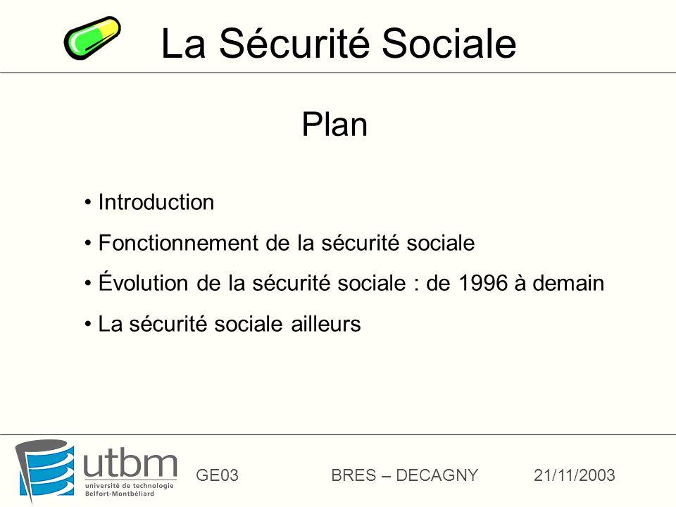 La Sécurité Sociale GE03BRES – DECAGNY21/11/2003 Plan Introduction Fonctionnement de la sécurité sociale Évolution de la sécurité sociale : de 1996 à demain La sécurité sociale ailleurs
