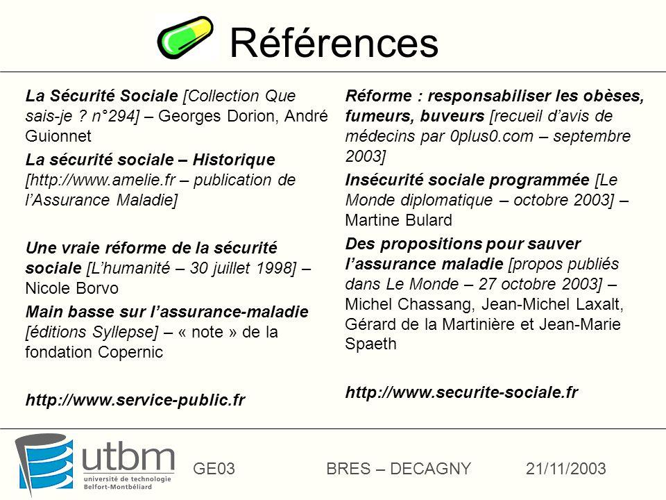 Références GE03BRES – DECAGNY21/11/2003 La Sécurité Sociale [Collection Que sais-je .