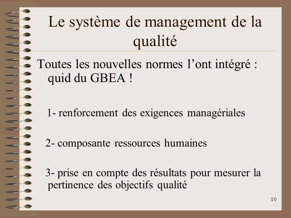 10 Le système de management de la qualité Toutes les nouvelles normes lont intégré : quid du GBEA .
