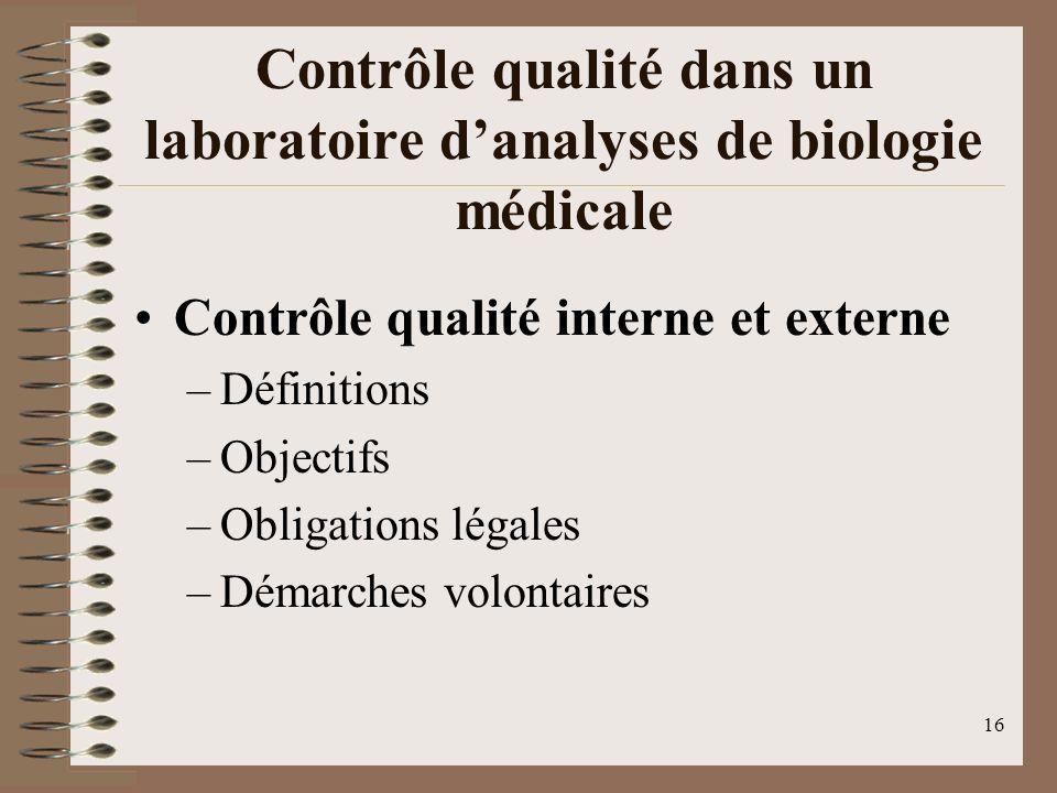 16 Contrôle qualité dans un laboratoire danalyses de biologie médicale Contrôle qualité interne et externe –Définitions –Objectifs –Obligations légales –Démarches volontaires
