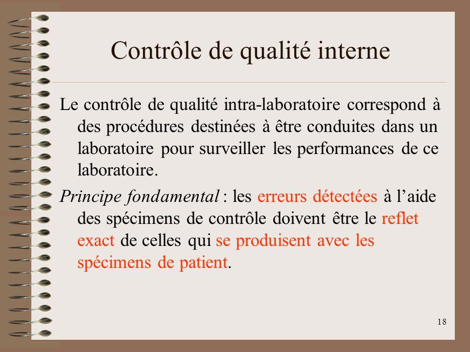 18 Contrôle de qualité interne Le contrôle de qualité intra-laboratoire correspond à des procédures destinées à être conduites dans un laboratoire pour surveiller les performances de ce laboratoire.