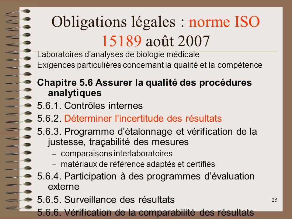 26 Obligations légales : norme ISO 15189 août 2007 Laboratoires danalyses de biologie médicale Exigences particulières concernant la qualité et la compétence Chapitre 5.6 Assurer la qualité des procédures analytiques 5.6.1.